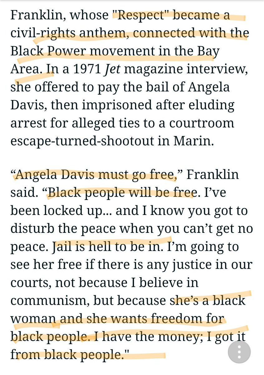 My Detroit sistah #arethafranklin put her money where her mouth was. WE supported HER. She returned the favor. Offered 2pay bail for Angela Davis because she knew WE need2be FREE #ArethaQueenForever #ArethaFranklinRIP #aretha #BlackTwitter #BlackPanthers #AMJoy #inners #trump<br>http://pic.twitter.com/MZaoA2lTMX