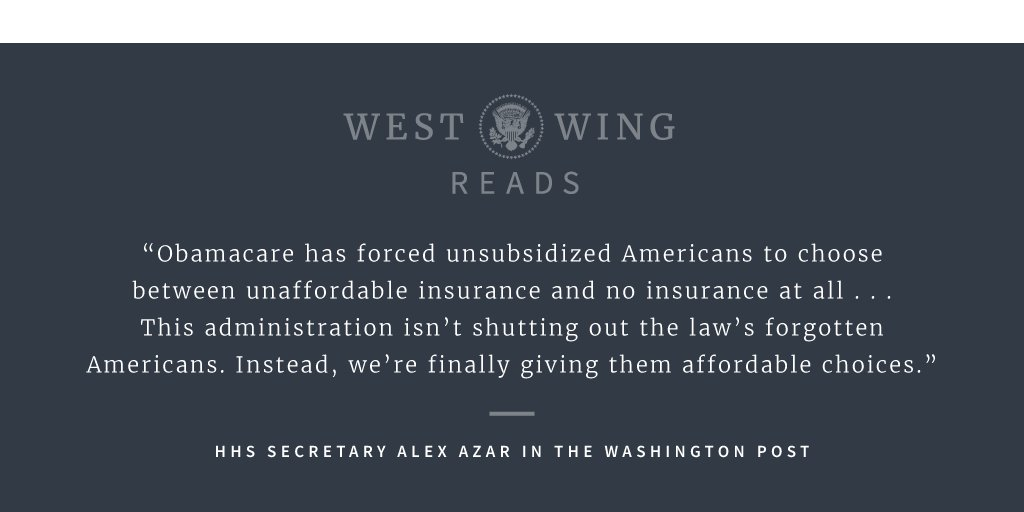 Obamacare effectively split the individual insurance market in two, forcing unsubsidized Americans to choose between unaffordable insurance and no insurance at all. Read more in tonights edition of West Wing Reads: 45.wh.gov/8V3xFi