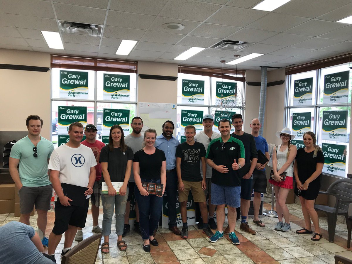 Our candidate, Gary Grewal, and his team are off to the door-steps tonight.  First official day of the campaign off to a great start! 🙌.  #skpoli