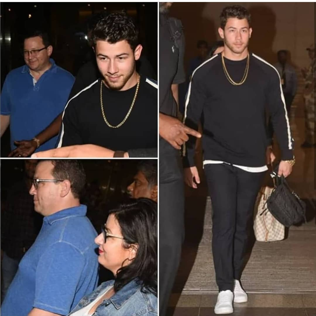 Let the celebration begin!!! .@nickjonas arrives with his family in India for his engagement bash with the &quot;DESI GIRL&quot; of Bollywood @priyankachopra<br>http://pic.twitter.com/gBb86KQnGb
