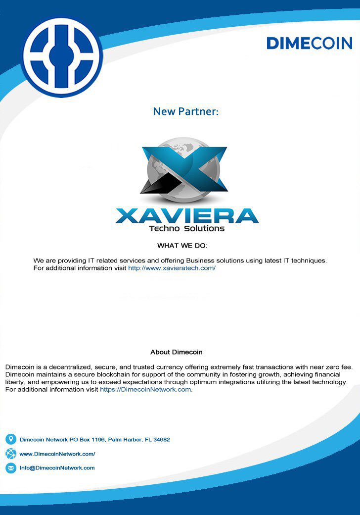 #Dimecoin $DIME We are now partnered with  http:// xavieratech.com / &nbsp;  <br>http://pic.twitter.com/OLwx42sXfX