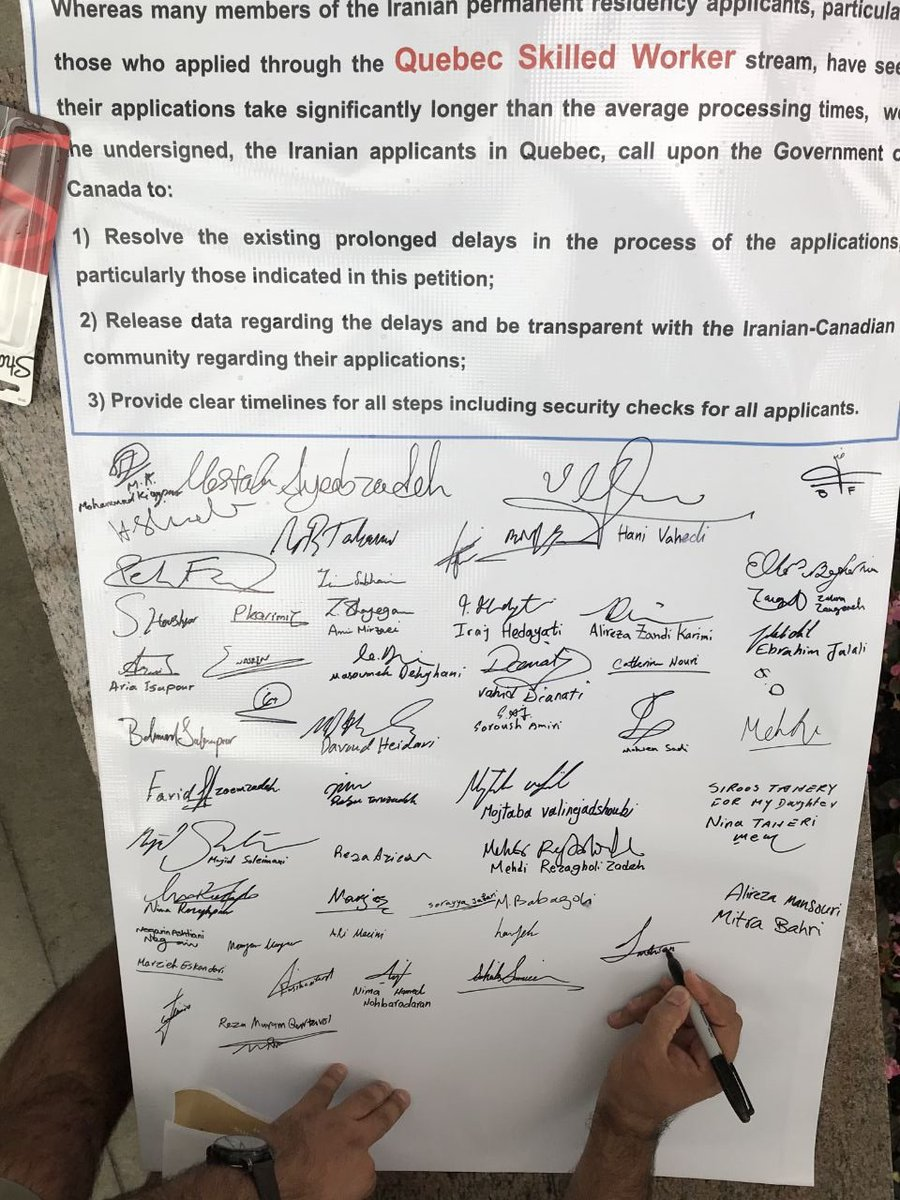 Signatures of a very small part of Iranians facing very high delay for PR than other nationalities. I hope @JustinTrudeau @HonAhmedHussen and @RalphGoodale care our issues in #DelayedIranianApplications and  #Quebec_Skilled_Worker Special thanks to @HLaverdiereNPD @CBCMontreal<br>http://pic.twitter.com/DbBY1KIB4f