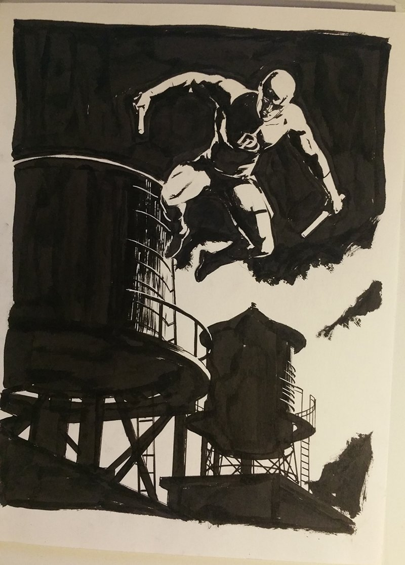 The obligatory Daredevil With Water Towers! 9x12 #RCCC @RoseCityCC