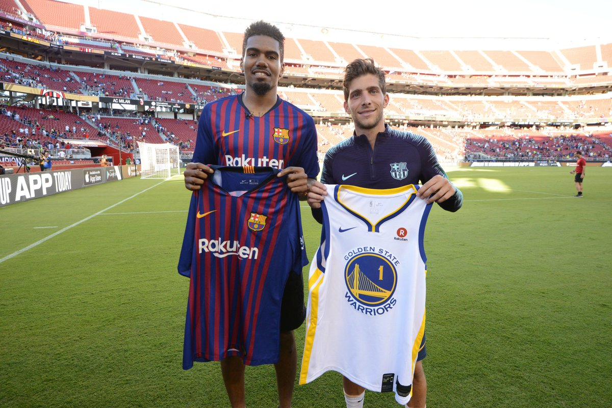 All-Access with @JacobEvans_1 as he checks out the @IntChampionsCup ⚽🏆 Good luck @FCBarcelona for the new season! #WarriorsRakuten