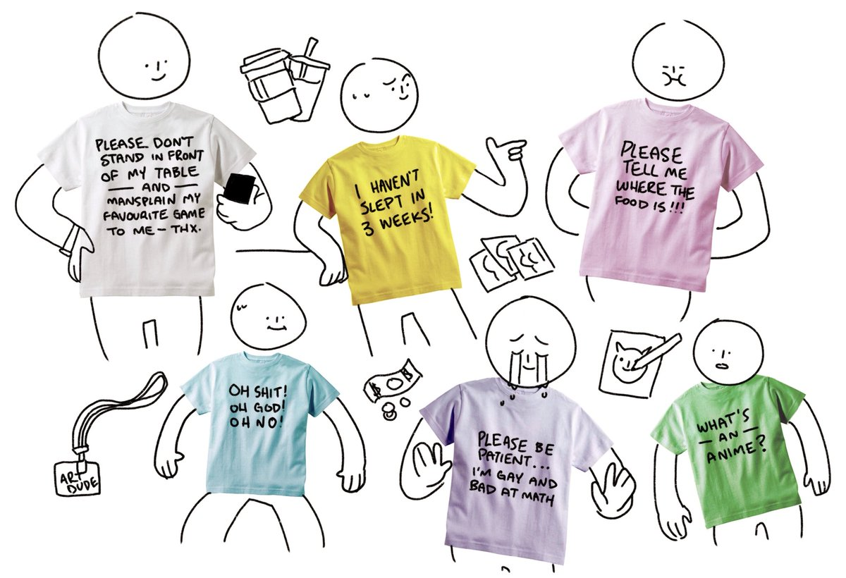 after the latest convention I've come up with a whole new line of prototype shirt designs specifically for us tired vendors in artist alley. All the hits. <br>http://pic.twitter.com/XRdCOJq1TQ