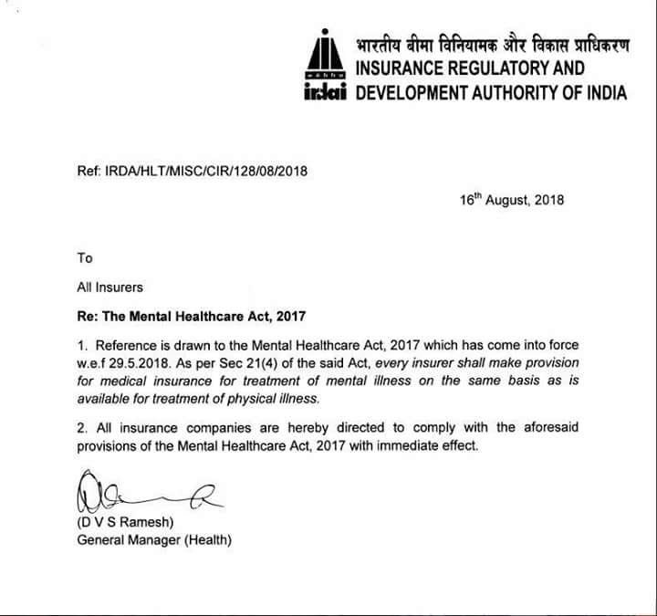 IRDAI Notice to Insurers: Mental Health Insurance in India