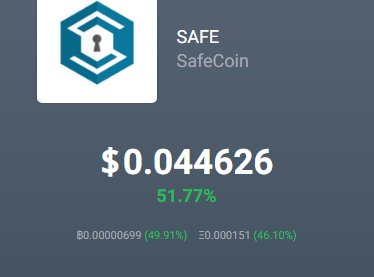 SafeCoin ($SAFE) price was trending up a little today.  The word on the street is ... #HODL    http://www. safecoin.org  &nbsp;     #bitcoin #money #Crypto<br>http://pic.twitter.com/VEqxLN6zSD