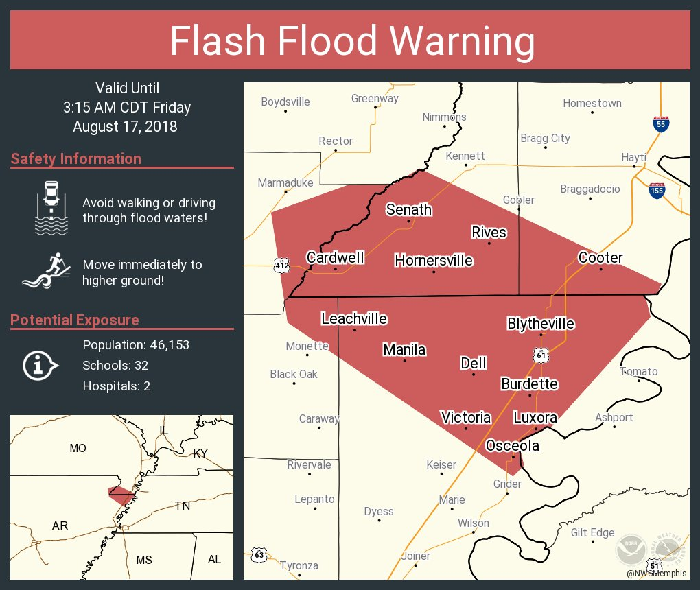 Nws Memphis On Twitter Flash Flood Warning Including Blytheville
