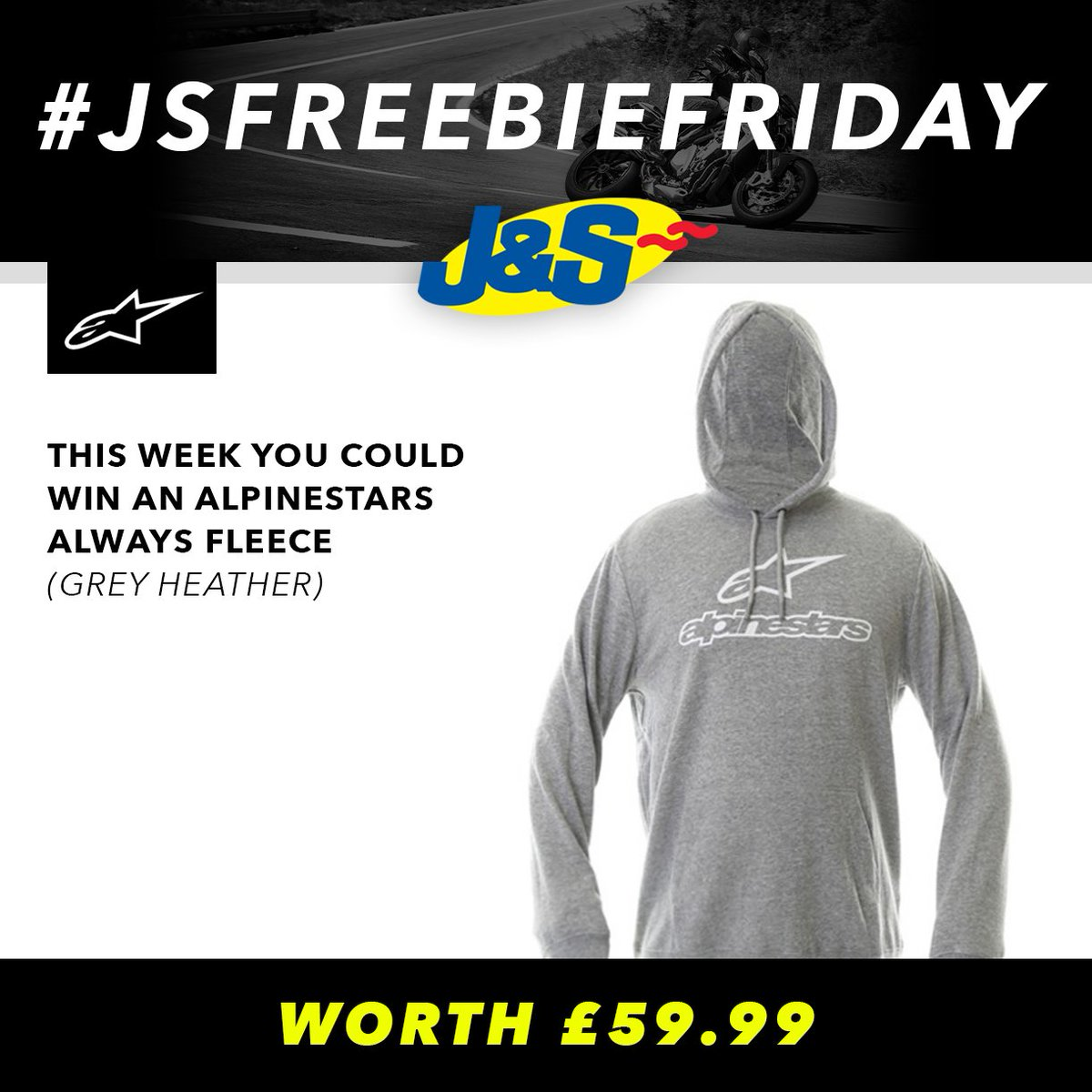 #JSFREEBIEFRIDAY Follow us & retweet this for a chance to win an Alpinestars Always Fleece in Grey Heather worth £59.99. Ends Tues August 21st. You can also enter by signing up to our newsletter here:  Happy Friday everyone!