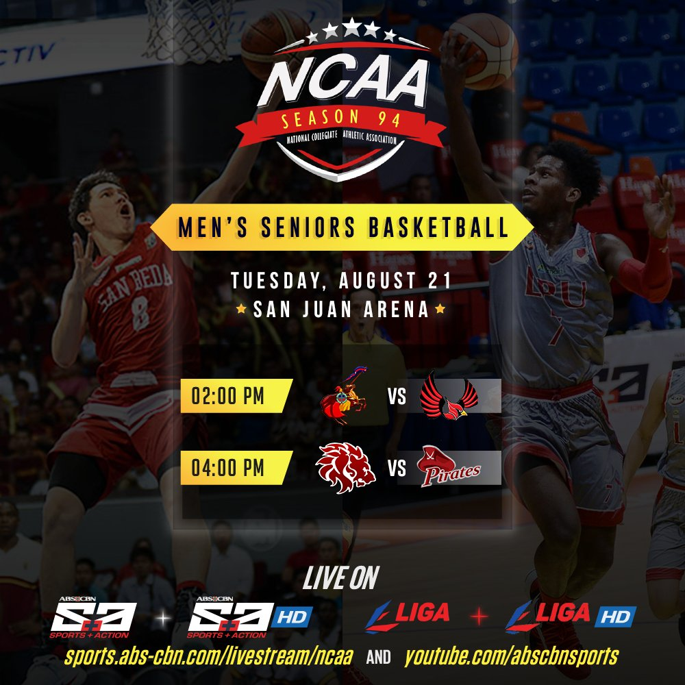 It&#39;s San Beda v Lyceum &amp; Letran v Mapua when the #NCAASeason94 continues on TUESDAY! <br>http://pic.twitter.com/psqljggsxz
