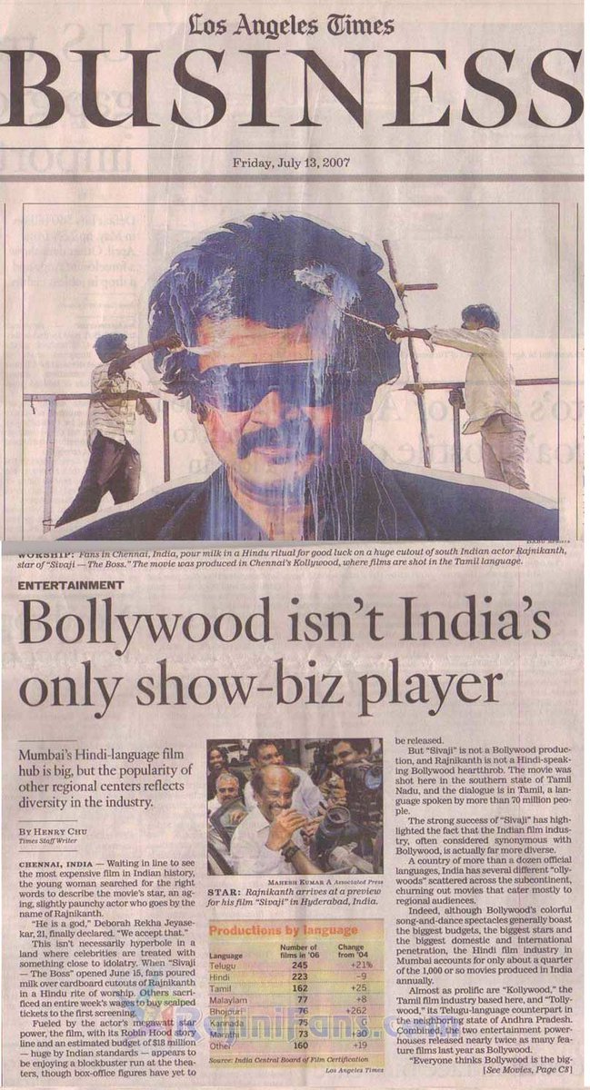 Again time for International media -  2007 during #SivajiTheBoss  LOS ANGELES TIME &quot;Bollywood isn&#39;t India&#39;s only show biz player&quot; Thalaivar cutout image  in American news paper SUPERSTAR @rajinikanth <br>http://pic.twitter.com/4gwo6nFg6I