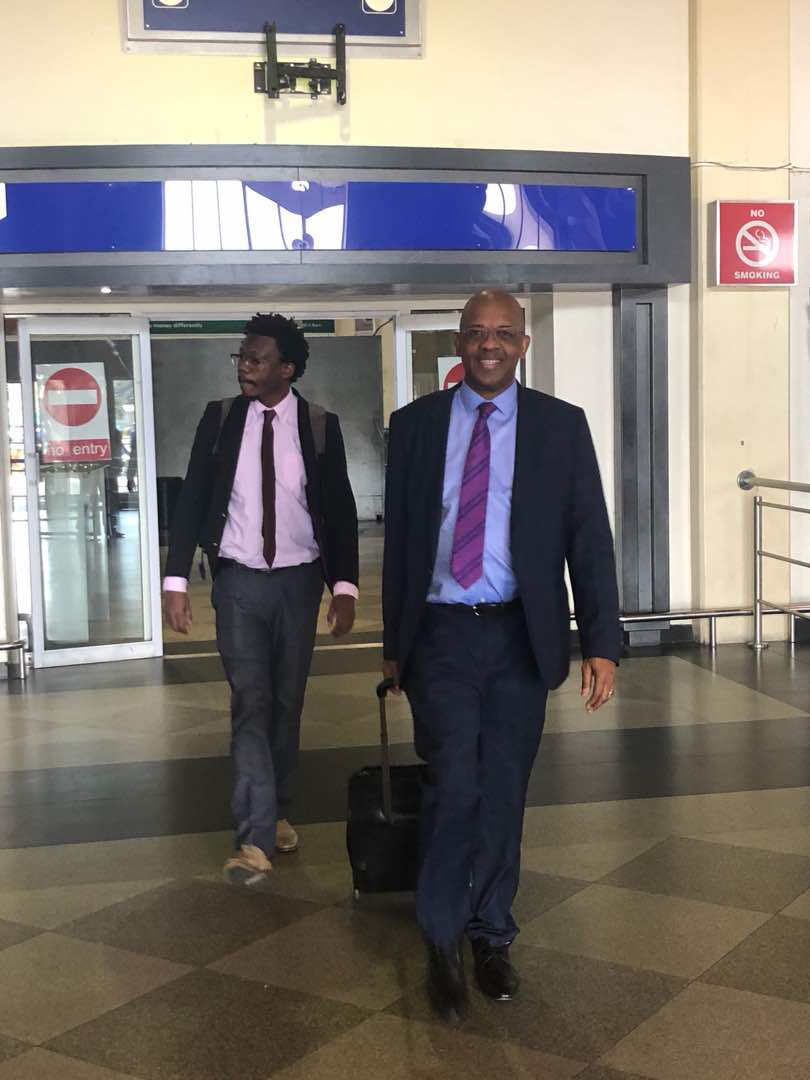 @AdvDali_Mpofu . and Adv Tembeka Ngcukaitobi arriving in Zimbabwe for MDC Alliance presidential election results challenge.