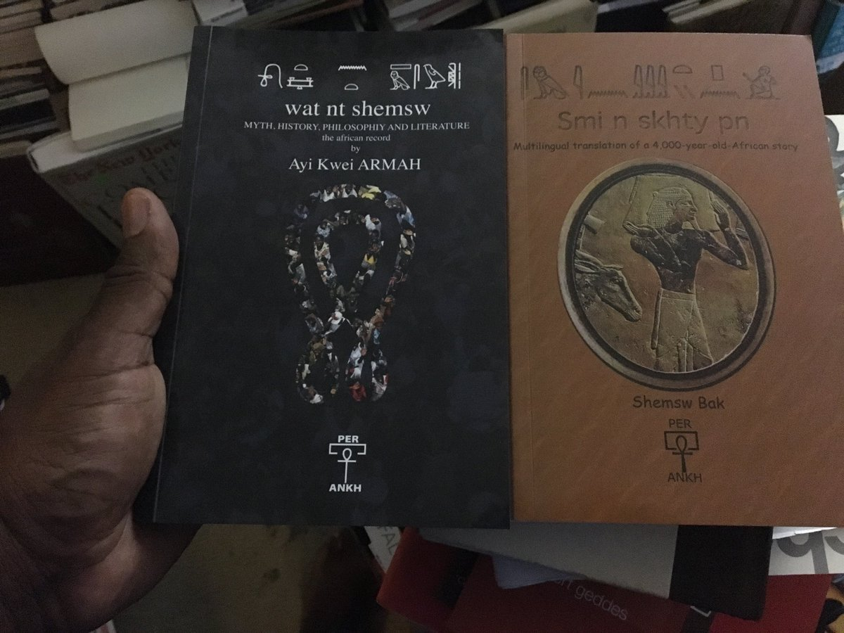 """Back from Kemet. Latest two texts from Ayi Kwei Armah arrived while I was gone.  With the shemsw (companions) of Per Ankh, he's lighting The Way again. These two are candidates for the next issue of @CompassJnl 's """"Top Five."""" Kill the noise/Repeat the birth. #WhmMsw<br>http://pic.twitter.com/xral72YScp"""