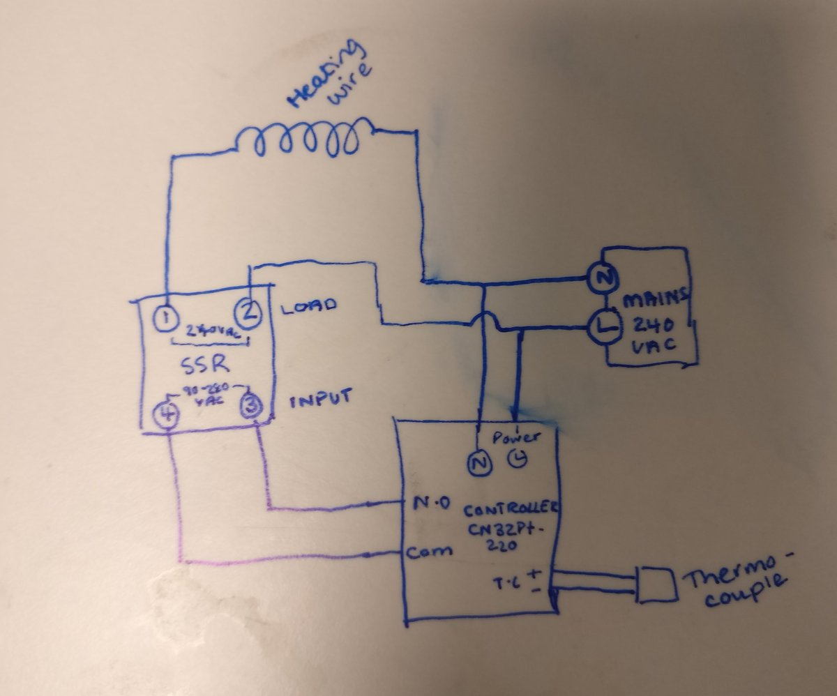 trying to wire a super simple circuit w/ thermocouple, #ssr, heating wire  and #pid controller