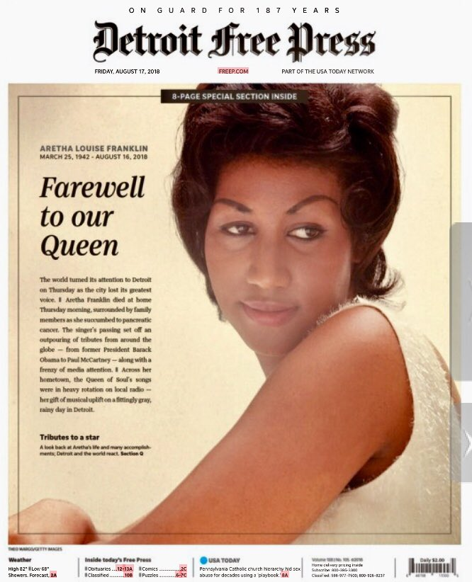 Today's @freep front page, honoring the Queen of Soul, Aretha Franklin. #RIP #respect