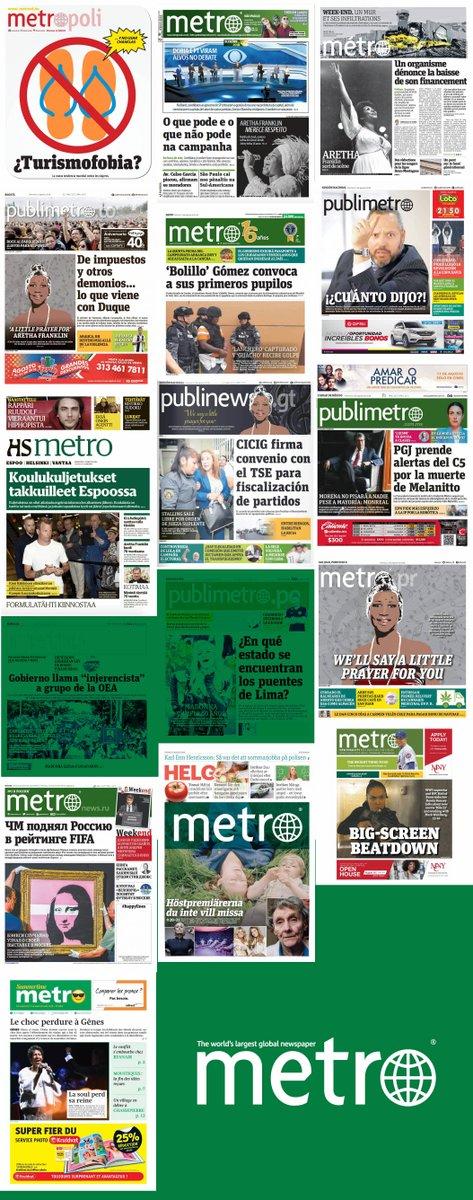 Today&#39;s covers, read our newspapers &gt;  http:// readmetro.com  &nbsp;       #MetroPower #Friday  #BuenViernes #climatechange #heatwave #LulaECandidato #Nicaragua #Turkey #ArethaFranklinRIP #Madonna60 #CristopherRobin #Travel<br>http://pic.twitter.com/sPKXW9jpte
