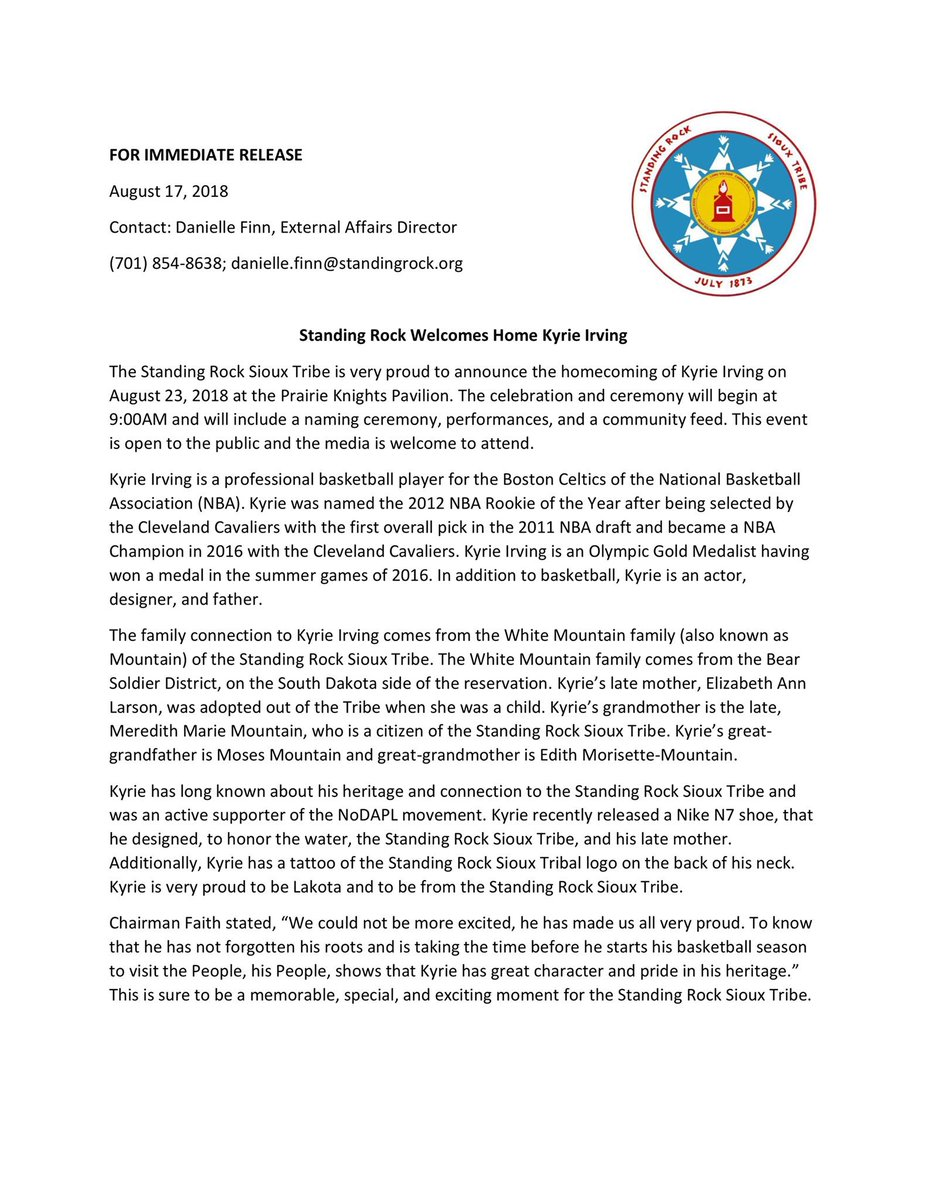 Standing Rock Sioux On Twitter Official Press Release On Kyrie