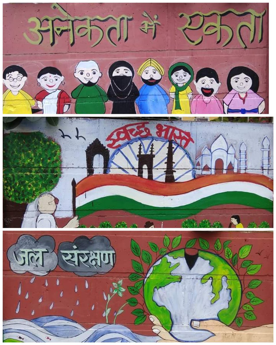 242nd #Shramdaan: DnA (Drawing n Arts) team of #Pahal made beautiful paintings at NH-58 Shivay toll #Meerut. Social message like Clean India, United India, Water Conservation and Girl Education were given through paintings. #SwachhBharat #MyCleanIndia @SwachhBharatGov<br>http://pic.twitter.com/RY9pm5i4Hw