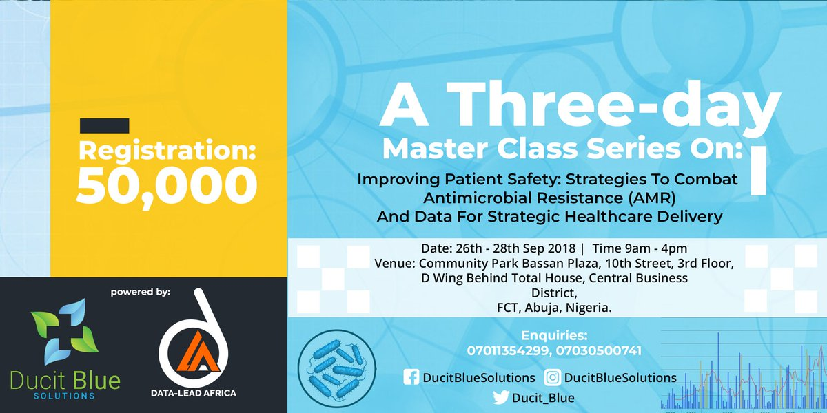 Sign up for 3-Day AMR/Data training http:// eepurl.com/dDhGm5  &nbsp;    Learn to develop strategies to combat AMR, develop health metrics relevant for strategy in precision medicine, deploy analytical technique for trend analysis &amp; data mining.  Date: 26-28th Sept 2018 Location: Abuja <br>http://pic.twitter.com/JtyREUEp5M