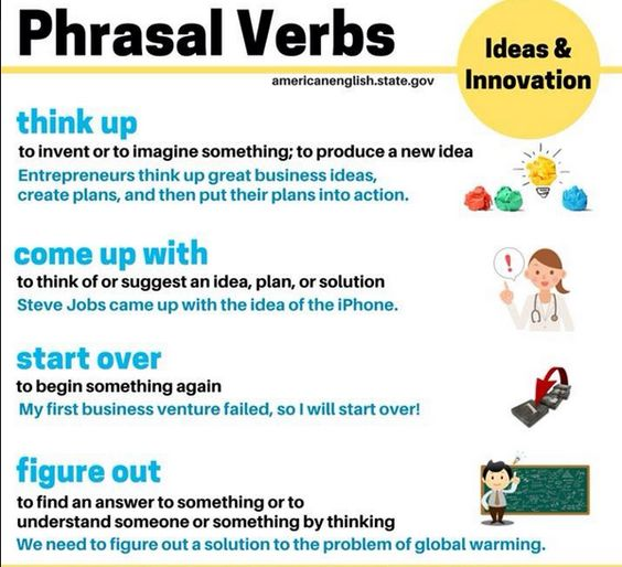 Phrasal verbs &#39;Ideas and Innovation&#39;. #expression #English #LearnEnglish #EnglishVocabulary #Grammar #Ingles #FelizFinde <br>http://pic.twitter.com/nFkEgVqfed
