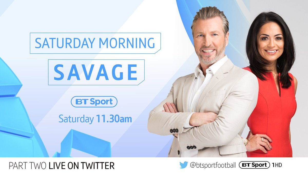 #SaturdaySav is back for round two...  Join us tomorrow morning to set up your weekend 🙌  📺 BT Sport 1 HD 🕦 11.30am