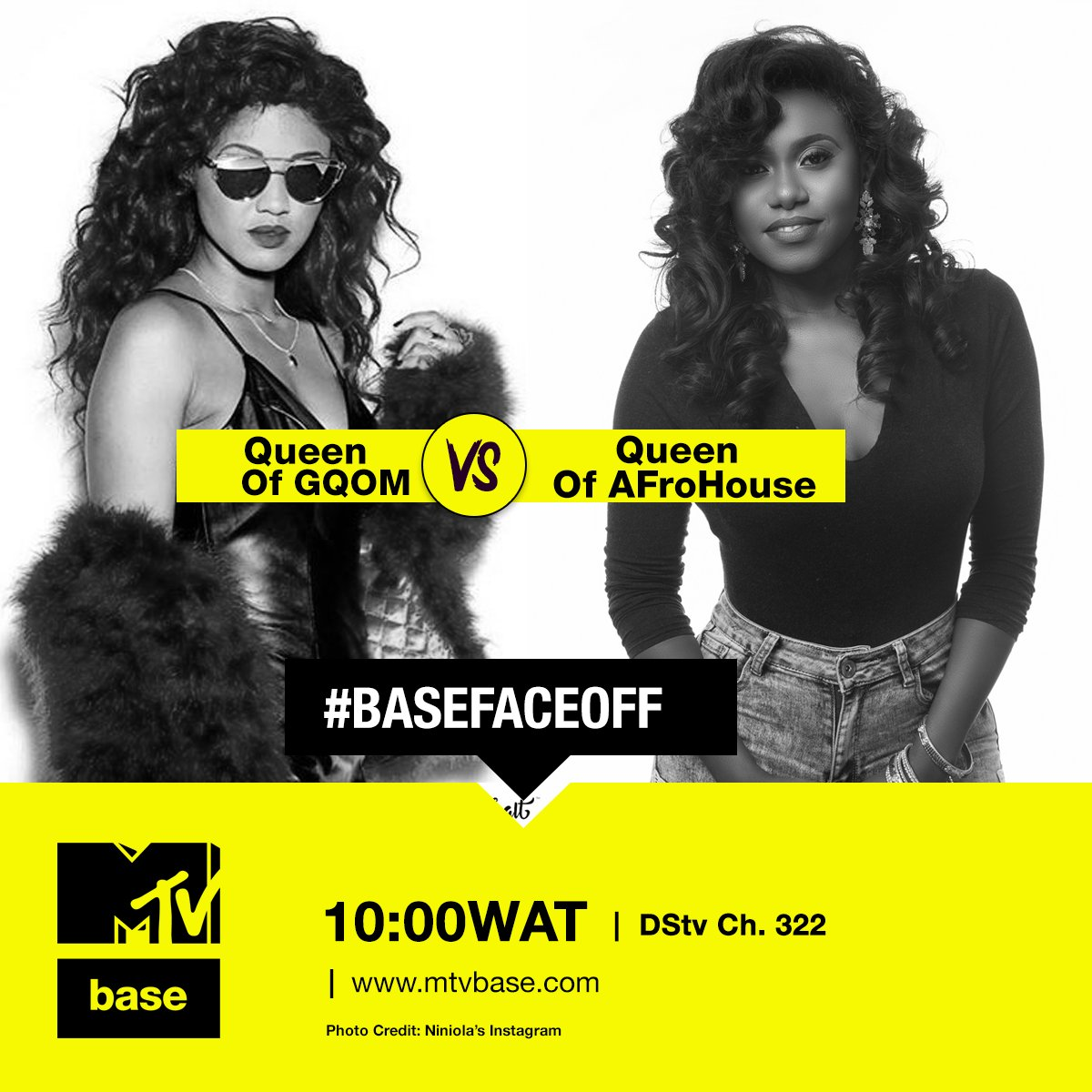 🤜 #BaseFaceOff 🤛  It's about that time to enjoy music from your two favs #Queens, @BABESWODUMO and @OfficialNiniola 🔥   You're in for a hella treat with our playlist today. We still wanna know who's your fav?? Tweet us and tune in to #MTVBaseCh322 @ 10:00 WAT [ @DStvNg ]