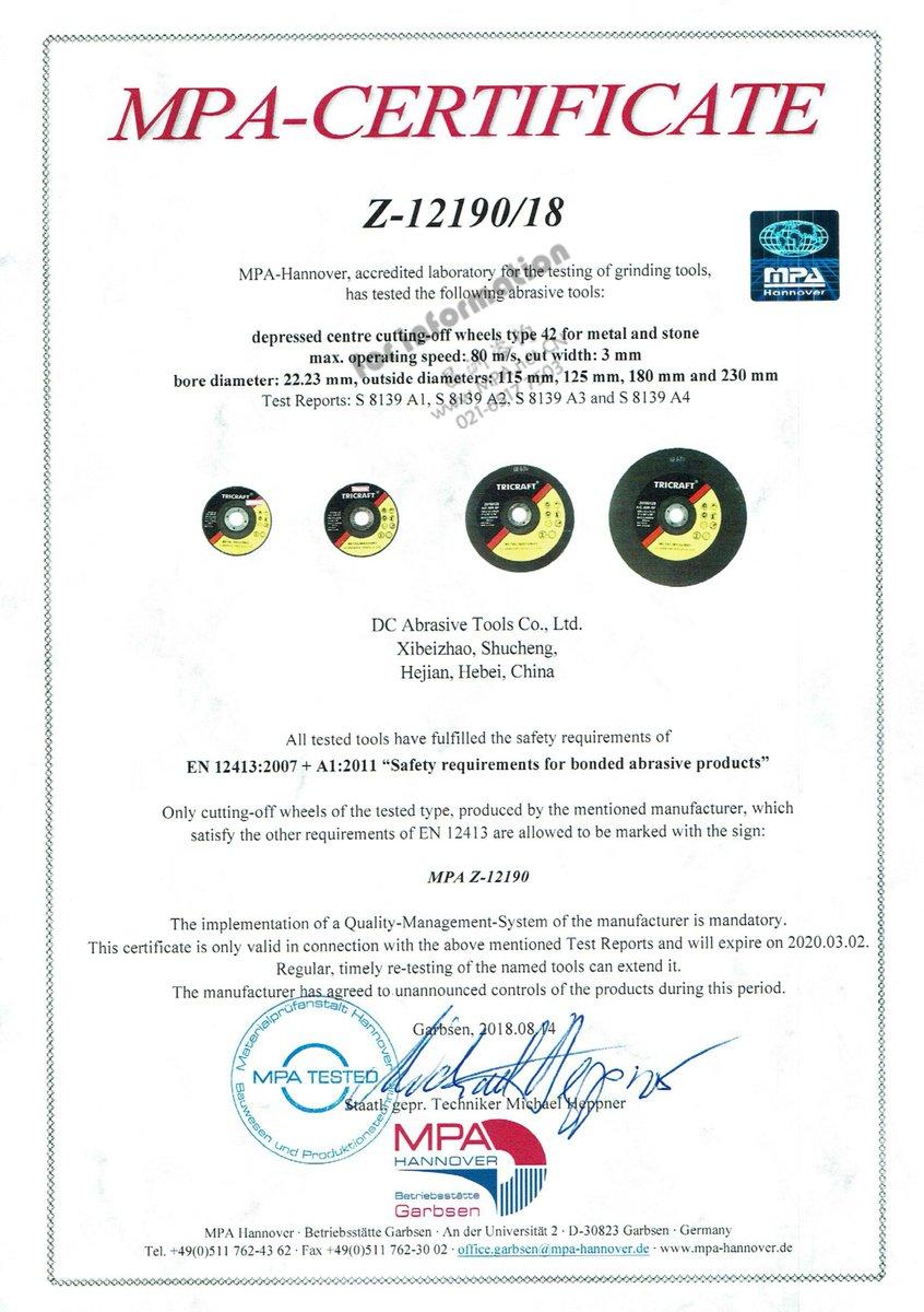 Tricraft Abrasives On Twitter Tricraft Mpa Certificate 125x1x22