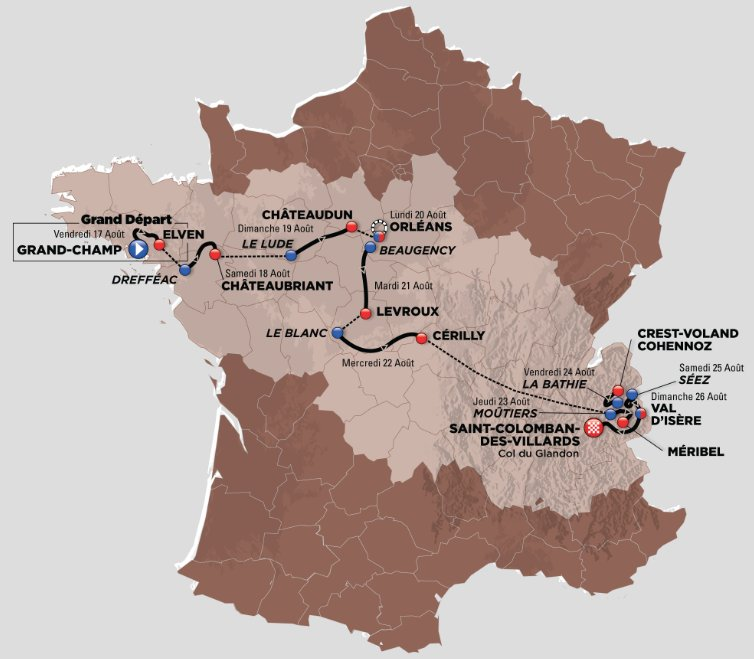 Tour de l&#39;Avenir, the Tour de France for U23 riders starts today. From the windy Bretagne to the Alps in 10 stages, no rest day. A 20 km TTT and 4 mountain stages will decide the winner. The Colombian Ivan Sosa is the  favourite.  #TourdelAvenir<br>http://pic.twitter.com/L2EVEYfrW0