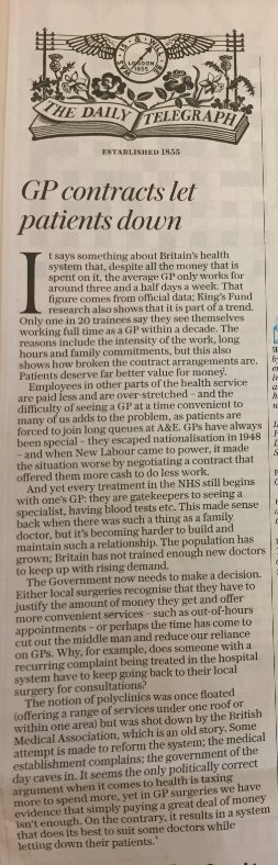 Today&#39;s @Telegraph bang on - simply increasing funding for the NHS is not enough! @CPSThinkTank report &#39;An NHS Bonus' shows how to improve productivity and outcomes we need more flexibility in the system &amp; to link pay more closely with performance   https:// bit.ly/2MkZXjl  &nbsp;   <br>http://pic.twitter.com/WkXzq3L73b