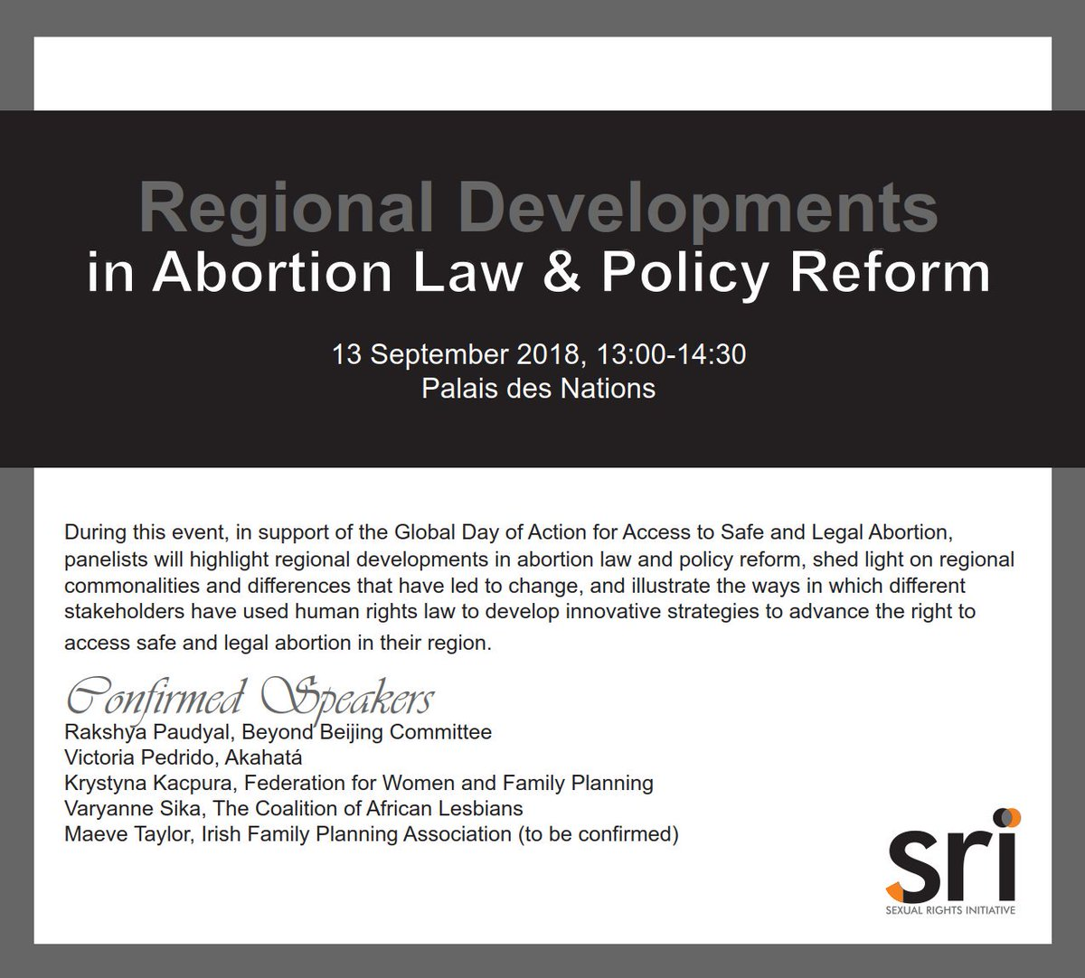 Save the date for @SexualRights&#39;s side event at #HRC39 on regional developments in #abortion law and policy reform, with @AkahataOrg @CALAdvocacy @BeyondBejing @federapl and @IrishFPA! #SRHR #AbortoLegalYa <br>http://pic.twitter.com/36ndLXMqyq
