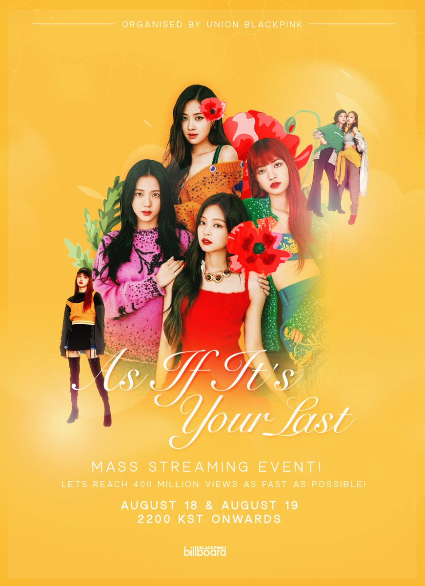 Mass streaming for &#39;As If It&#39;s Your Last&#39; music video. Let&#39;s hit 400 million views as fast as possible, we can do this if we work together! Check out the poster for more details.  Link:  https:// youtu.be/Amq-qlqbjYA  &nbsp;     Poster © @goyujinz  @ygofficialblink<br>http://pic.twitter.com/bQwh80LHFU