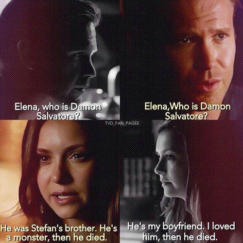 """""""Elena, chi è Damon Salvatore?Era il mio fidanzato. Lo amavo. è morto.""""""""Elena , chi è Damon Salvatore?Era il fratello di Stefan. E\"""