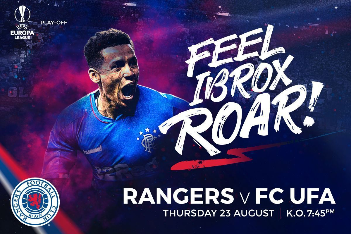 #RangersFC will play FC Ufa in the play-off for the @EuropaLeague on Thursday 23 August (7.45pm) and season ticket holders can secure their seat now.   Full information:  https:// rng.rs/2OGKPJO  &nbsp;  <br>http://pic.twitter.com/qzIluxbybM