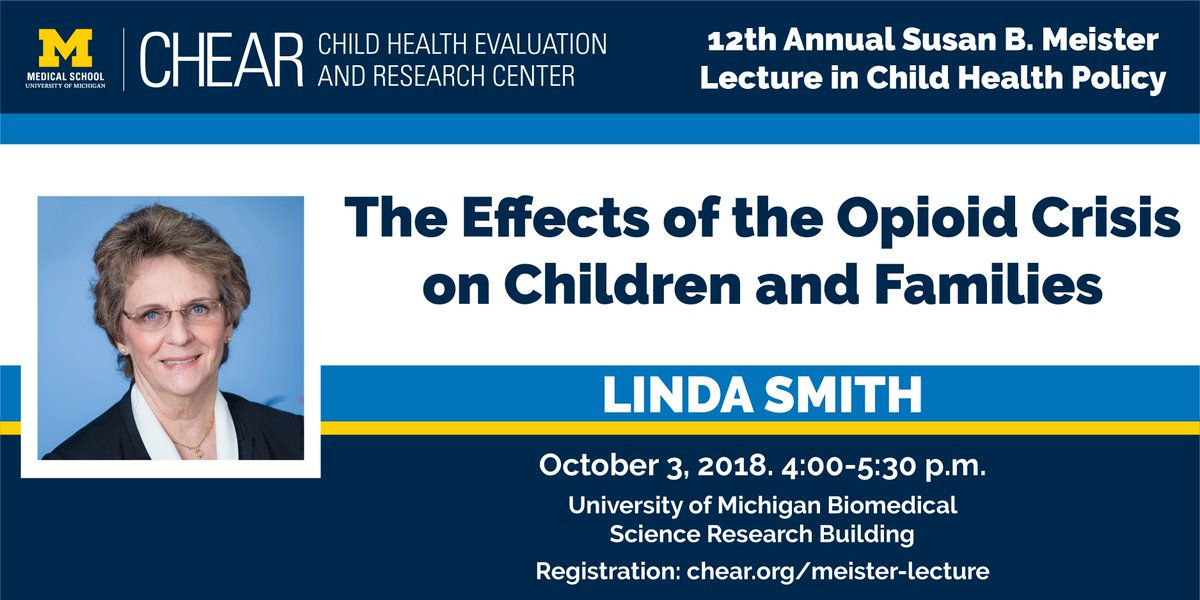 Registration is now open for the 2018 Meister Lecture: The Effects of the Opioid Crisis on Children and Families with Linda Smith of @BPC_Bipartisan.  http:// chear.org/news-events/me ister-lecture &nbsp; … <br>http://pic.twitter.com/W0ib2i21I2