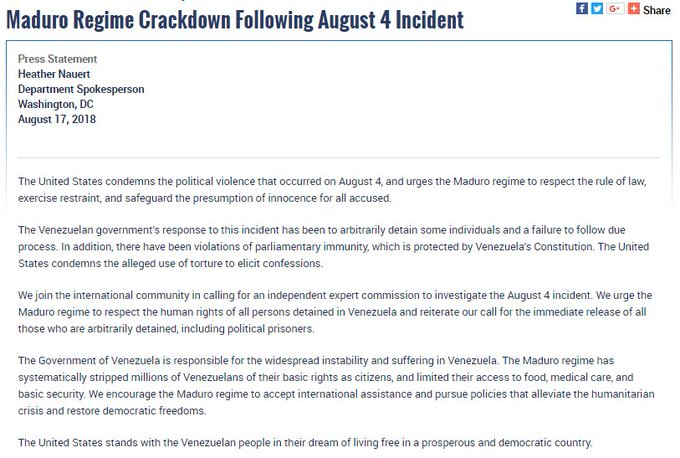 A press statement by Spokesperson Heather Nauert on Maduro Regime Crackdown Following August 4 Incident, August 17, 2018.
