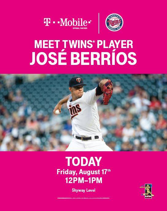 Happy Friday!!! We have an awesome surprise for you! Come meet MN Twins Player José Berríos from 12 p.m. - 1 p.m. TODAY at T-Mobile! Hope to see you there! #MinnesotaTwins #IDSCenter #Baseball #JoseBerrios #TMobile #Minneapolis #Minnesota<br>http://pic.twitter.com/VeqDCAd4eZ