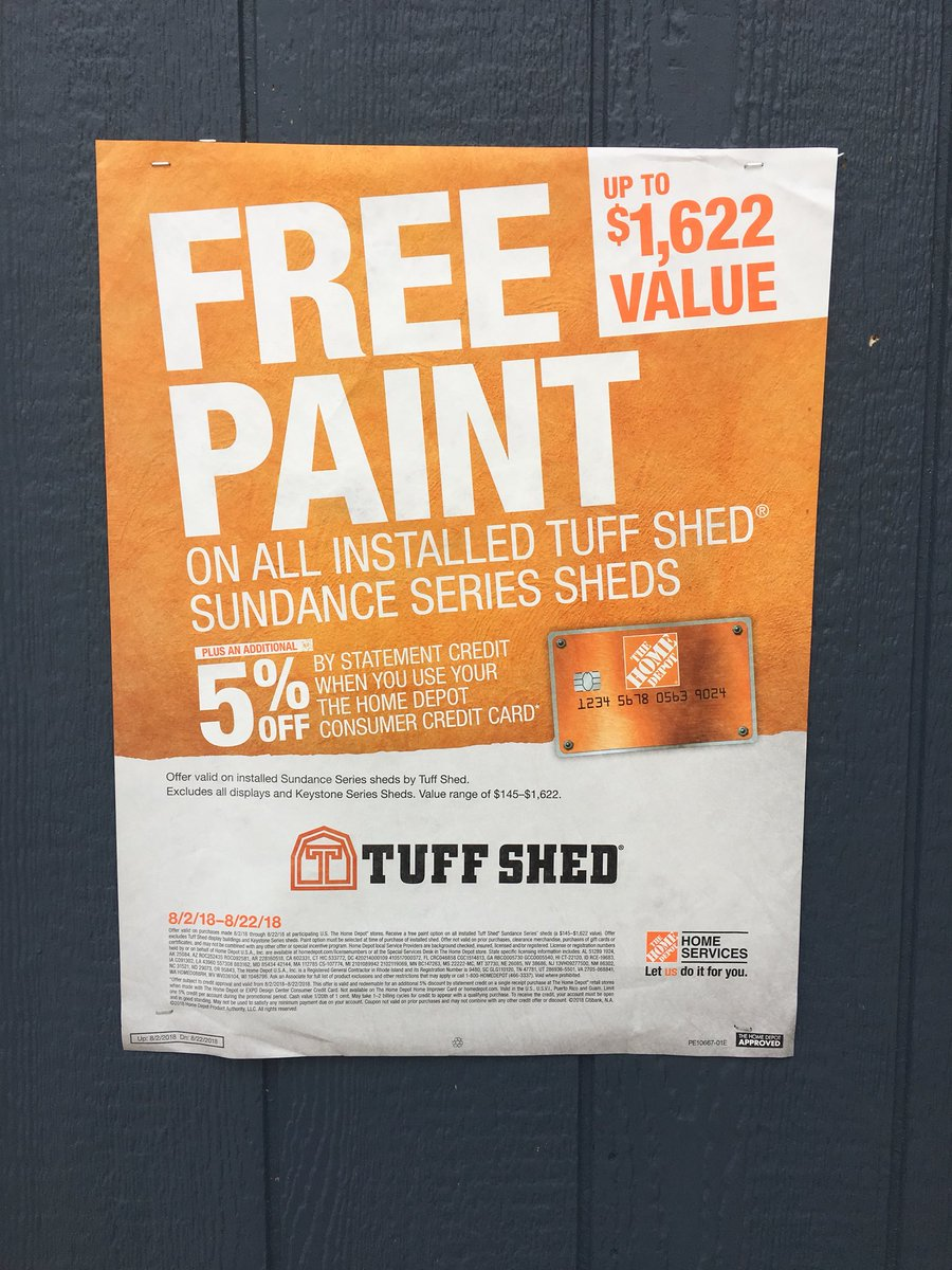 Don't miss out last weekend for free paint on all Sundance series sheds. Get to your Home Depot today!! @miketarte @THD_Roanoke_TX @TheMighty541 @TuffShedEddieB @thd0540 @thd0554 @6533HomeDepot<br>http://pic.twitter.com/AN95GFHPQD