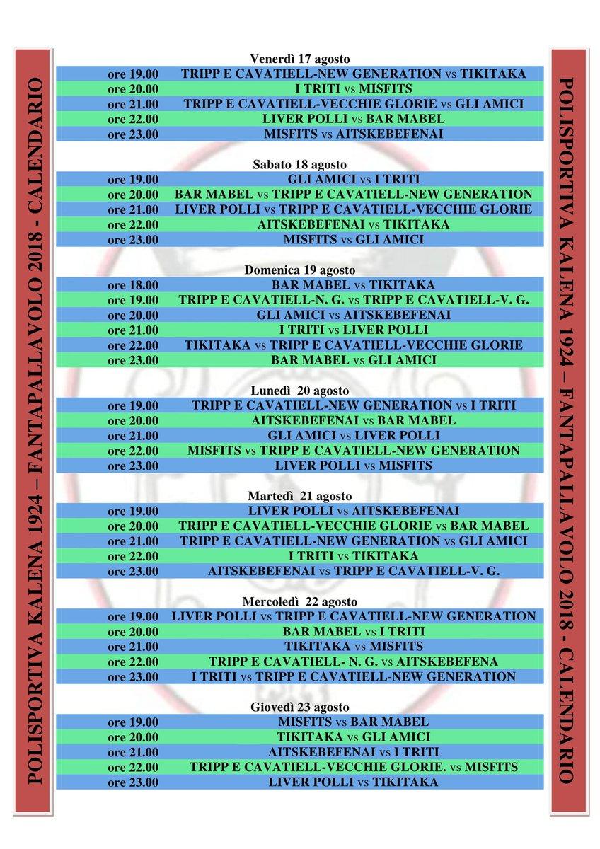 Il calendario della #FantaPallavolo2018. Oggi si parte, buon divertimento a tutti!!! #Casacalenda #Molise #sport #pallavolo #volley #Estate2018 #FantaPallavoloN.B.: sono stati corretti alcuni errori rispetto al precedente :-)  - Ukustom