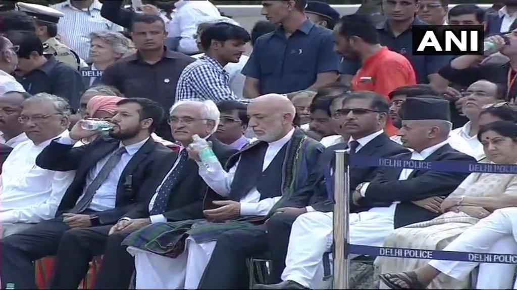 Former Afghanistan President Hamid Karzai, Pakistan acting law minister Syed Ali Zafar, Nepal Foreign Minister Pradip Kumar Gyawali and EAM Sushma Swaraj at funeral of #AtalBihariVajpayee