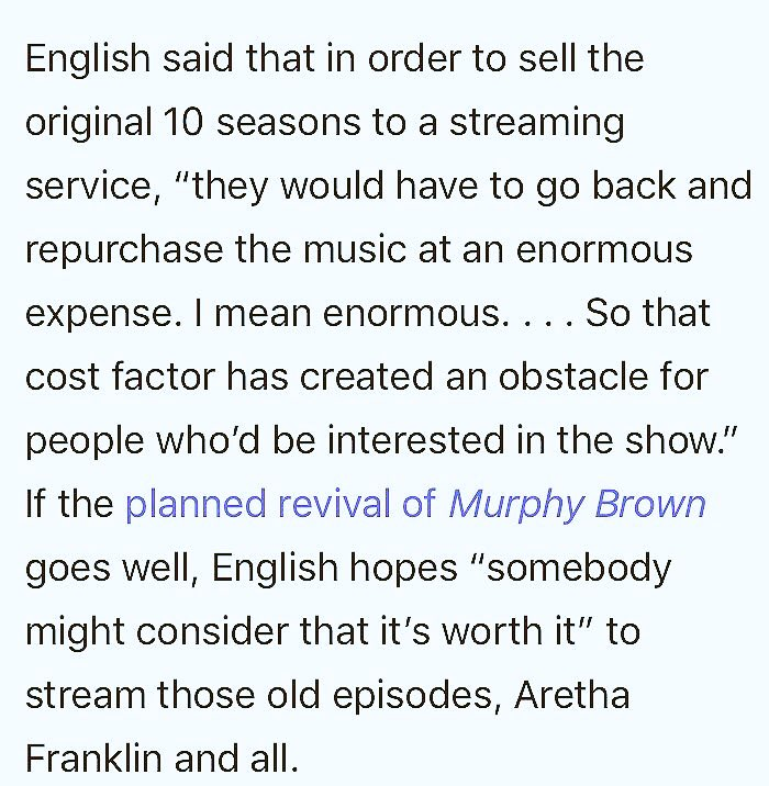 For those asking, this is why #MurphyBrown is not streaming. From @Joypress @VanityFair  https://www. vanityfair.com/hollywood/2018 /08/aretha-franklin-appearance-on-murphy-brown &nbsp; … <br>http://pic.twitter.com/dhlNB3YUg9