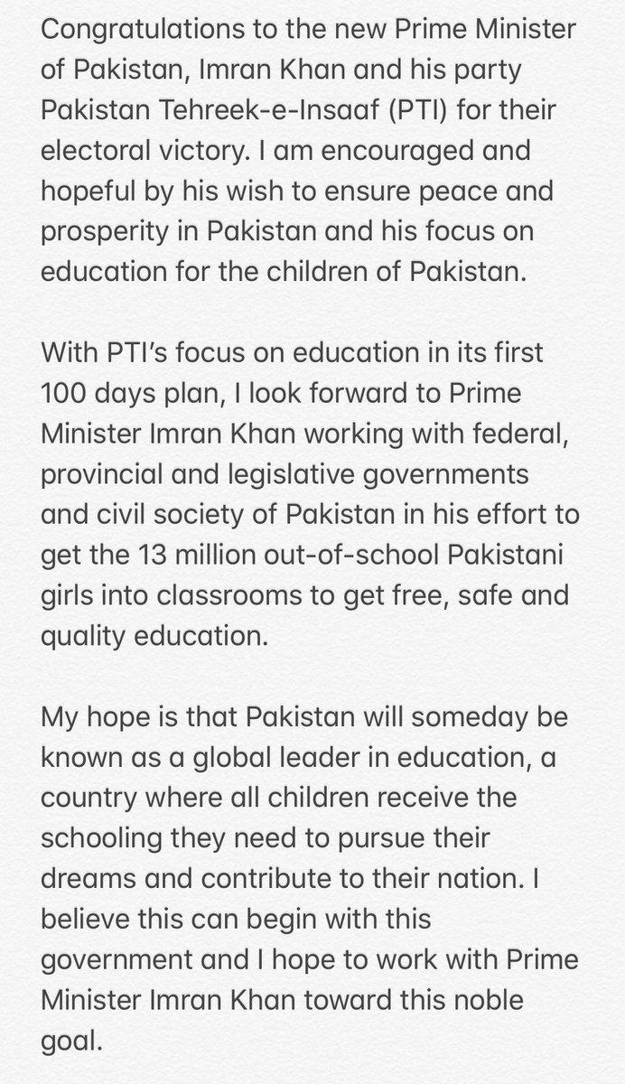 Congratulations to the new Prime Minister of Pakistan, @ImranKhanPTI 🇵🇰