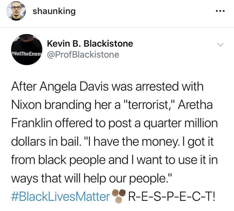 One real way for white people to honor Aretha Franklin posthumously is to honor folks like Colin Kaepernick and Black Lives Matter now. @shaunking #BlackLivesMatter  <br>http://pic.twitter.com/3imt6cGSV8