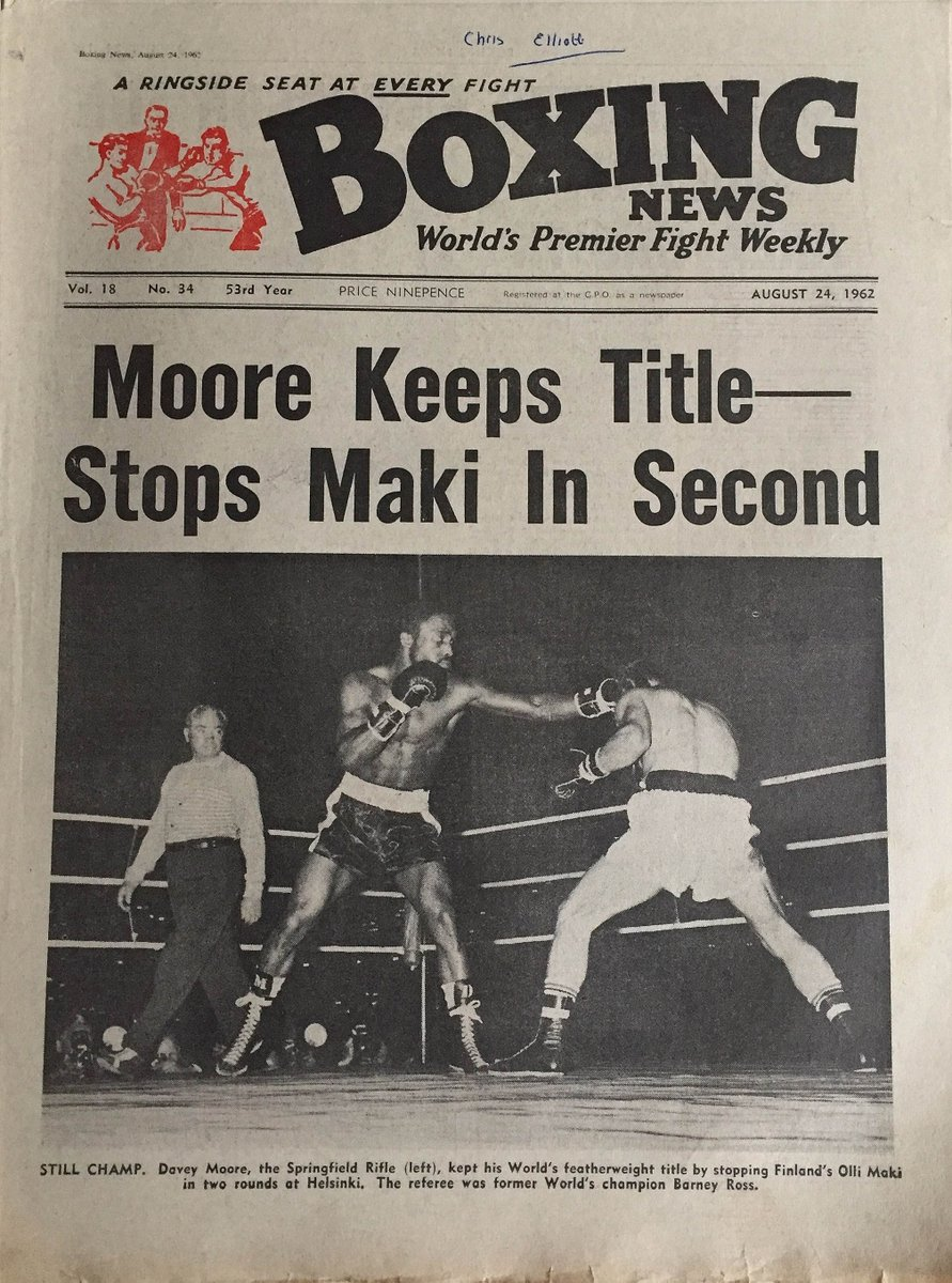 1962 - Davey Moore KO 2 Olli Maki at Olympic Stadion, Helsinki, Finland. Retains featherweight title. Referee for this fight was former lightweight and junior welterweight champ Barney Ross.