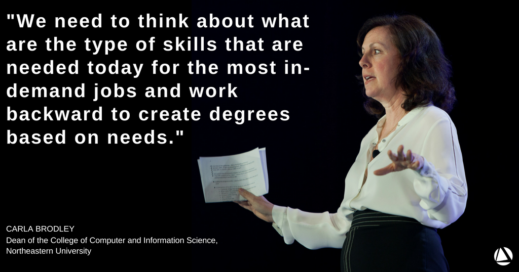 At #NPGoL, @CarlaBrodley gave a talk on transforming higher ed institutions to help people navigate the #FutureofWork, based on her experience leading innovation and change at @Northeastern  https:// hubs.ly/H0dqNCr0  &nbsp;  <br>http://pic.twitter.com/ZwVbrJOKtk