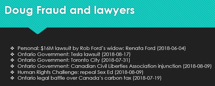 &quot;Working for the people&quot;   I know there are more coming:  - Quebec and California will as soon as the CapNTrade repeal bill is passed.  - Basic Income cancellation legal challenge also might be coming  Anything else? <br>http://pic.twitter.com/pVwpEfrm7E