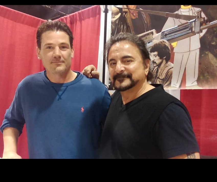 I met @THETomSavini at the Detroit comic Con a few yrs back. He was very generous with his time and answered all my geeky horror questions about his body of work. Thank you Mr Savini and sorry to all the people in line behind me. #firstTweet #HorrorMovies<br>http://pic.twitter.com/alFtjjUT45
