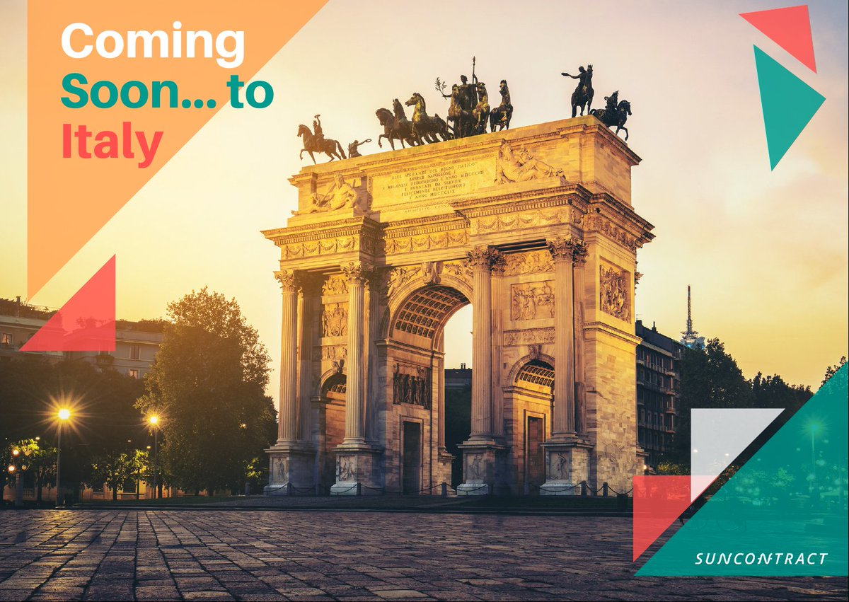 As mentioned in our July AMA, we will likely be expanding first into ITALY&#39;s Lombardy region in coming months. This will be a huge milestone for the #SunContract team with similar milestones to follow as we expand our global footprint.#SunContractComingtoItaly  #Crypto #BTC #ETH <br>http://pic.twitter.com/3lPvT8LWB3