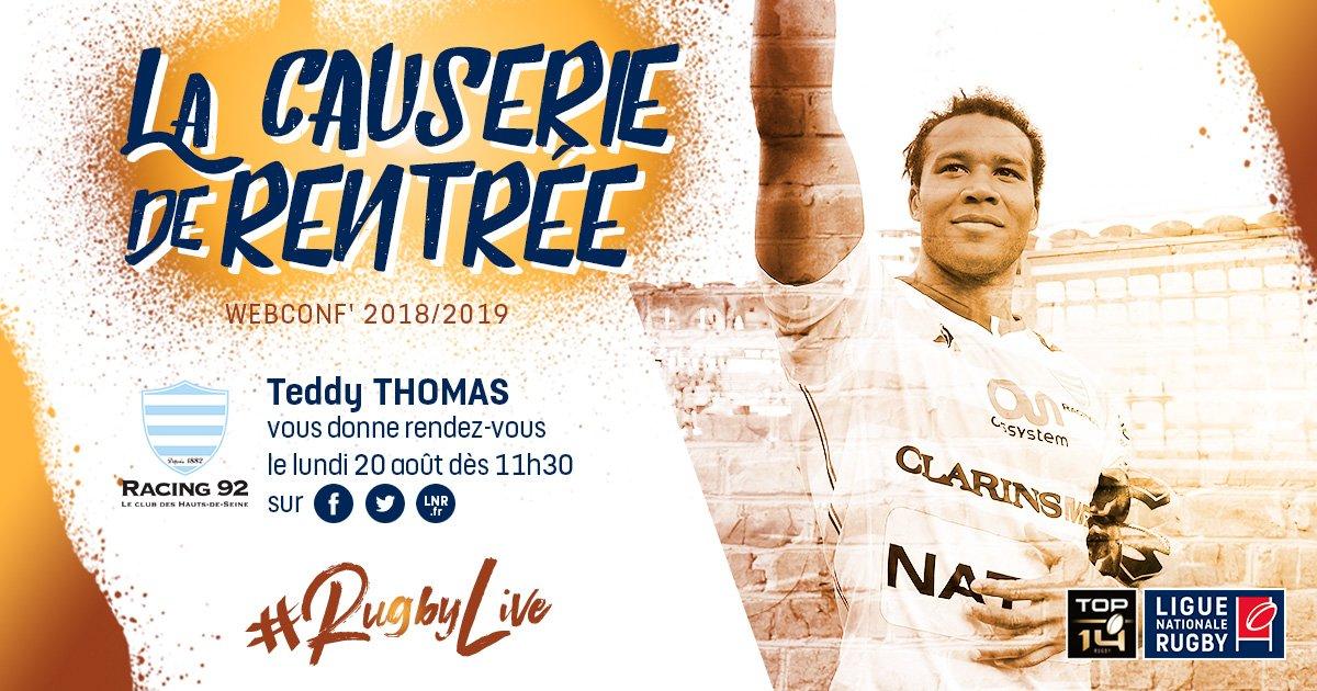 """️Notre ailier @TeddyThoms sera à """"La Causerie de la Rentrée"""" lundi matin ! Posez lui vos questions avec #RugbyLive afin qu'il y réponde dès 11h30.  #TOP14 https://t.co/YipWjUC7Bg"""