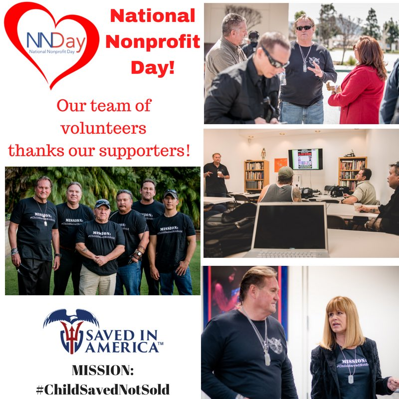 #NationalNonprofitDay our volunteer team is so appreciative of the support these past years&amp;your belief in this cause&amp;MISSION:#ChildSavedNotSold #NND #endhumantrafficking #nonprofit #NavySEALs #lawenforcement  @MrArmandking @suziday123 @lanilutar @KristinDGaspar @SisOfTheStreets<br>http://pic.twitter.com/fpb8FRWSLW