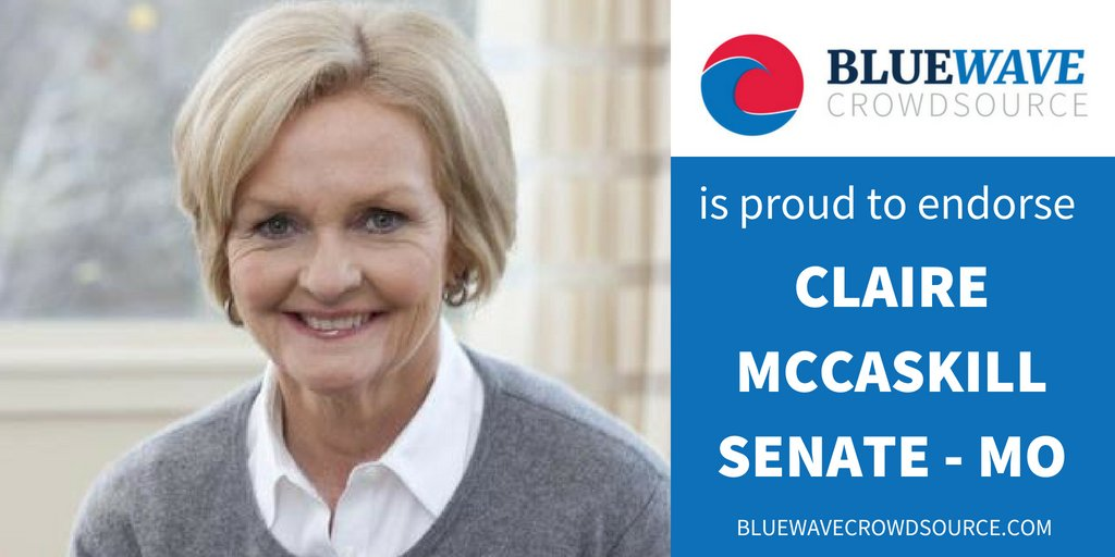 BWCS proudly endorses @McCaskill4MO for reelection to US Senate for Missouri.  She&#39;s on the Trump Target list, so she needs our support.  Help Senator McCaskill win in November. Volunteer for her campaign.  https:// bluewavecrowdsource.com/candidates/cla ire-mccaskill &nbsp; … <br>http://pic.twitter.com/Vo5iRu1Vxs